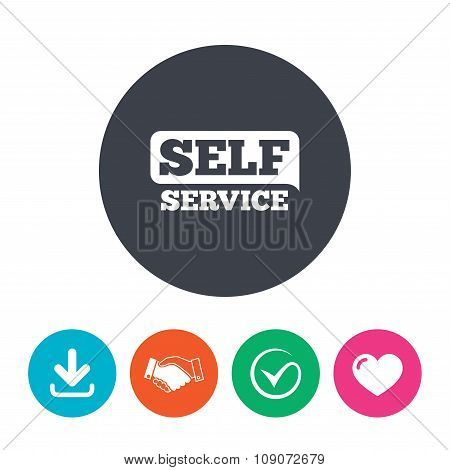 Self service sign icon. Maintenance button. Download arrow, handshake, tick and heart. Flat circle buttons. poster
