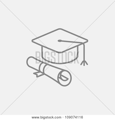 Graduation cap with paper scroll line icon for web, mobile and infographics. Vector dark grey icon isolated on light grey background.