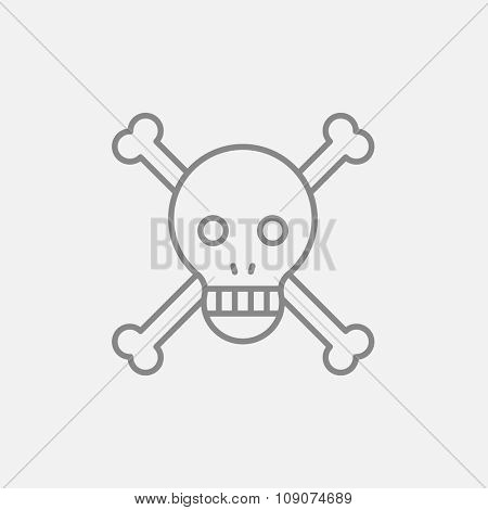 Skull and cross bones line icon for web, mobile and infographics. Vector dark grey icon isolated on light grey background.
