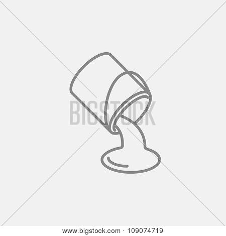 Paint pouring from bucket line icon for web, mobile and infographics. Vector dark grey icon isolated on light grey background.