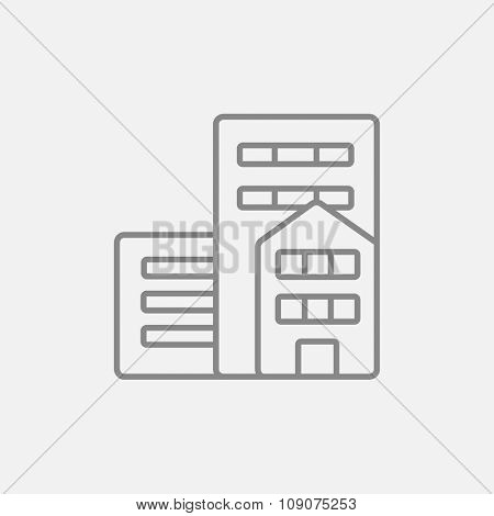 Residential buildings line icon for web, mobile and infographics. Vector dark grey icon isolated on light grey background.