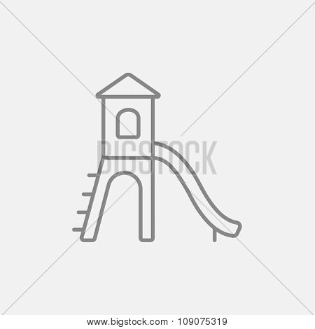 Playground with slide line icon for web, mobile and infographics. Vector dark grey icon isolated on light grey background.