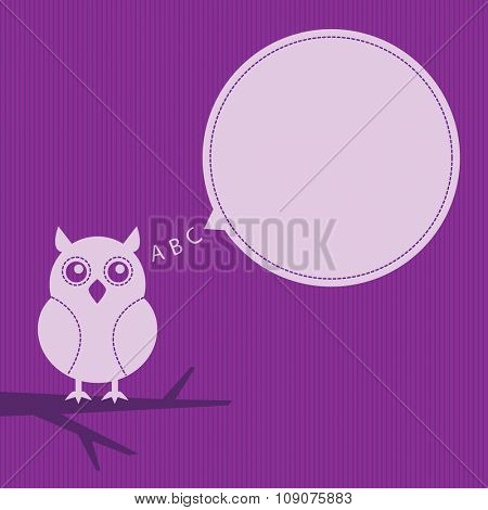 cartoon owl sitting on a branch with speech bubble