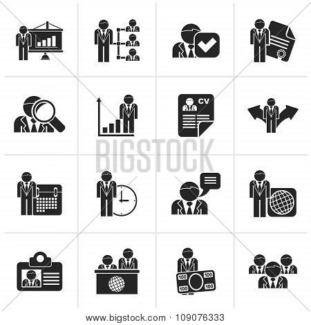 Black Human resource and employment icons