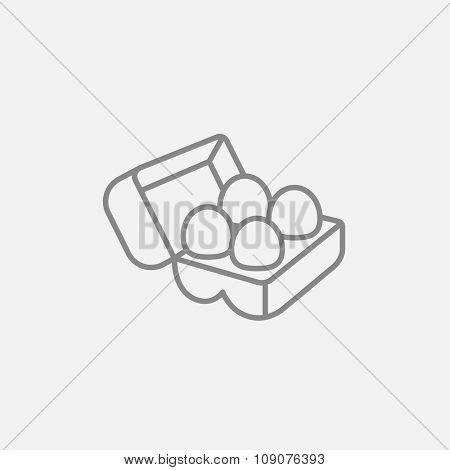 Eggs in a carton package line icon for web, mobile and infographics. Vector dark grey icon isolated on light grey background.