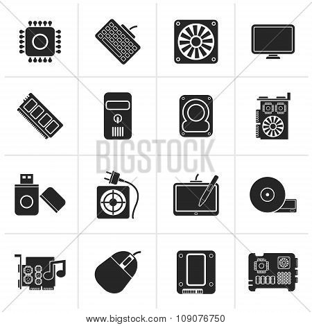 Black Computer part icons