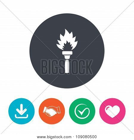 Torch flame sign icon. Fire flaming symbol. Download arrow, handshake, tick and heart. Flat circle buttons. poster