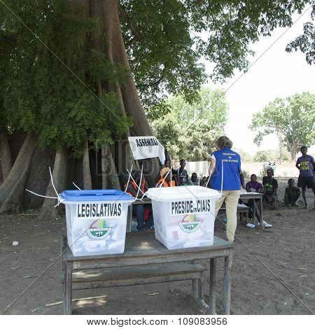 Polling Station And Ballot Boxes