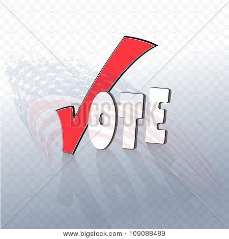 Vote text with check sign.