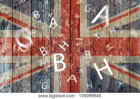 The British flag and letters Concept learning english language