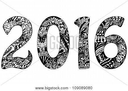 Hand drawn black and white 2016