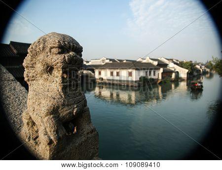 ancient town,Stone lion