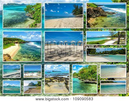 Mauritius white beaches collage