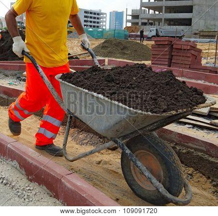 Work carries fertile soil in a wheelbarrow