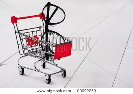 Shopping Cart With Reading Glasses