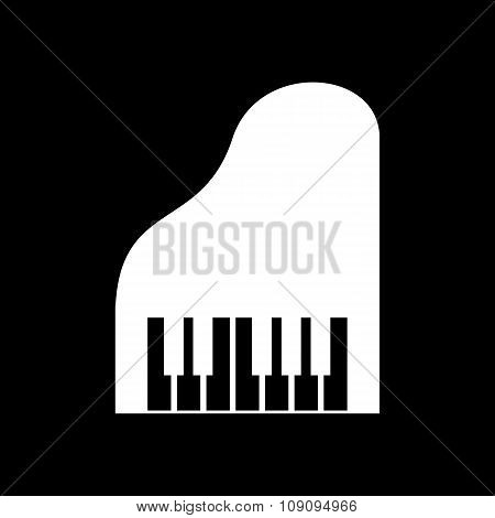 The piano icon. Music and pianist, musician, synthesizer symbol. Flat