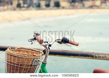 Bicycle With Basket At The Beach