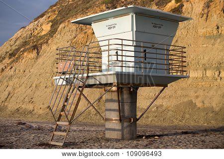 Torrey Pines Beach Lifeguard Stand in Golden Light