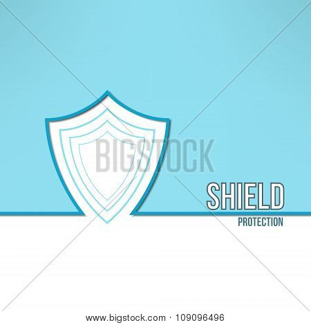 Vector shield background made in modern clean and simple flat design. Security and protecion concept