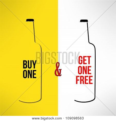 Vector beer bottle promotional design buy one get one free. Bar poster, banner and flyer promo backg