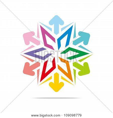 Logo star arrow icon abstract vector