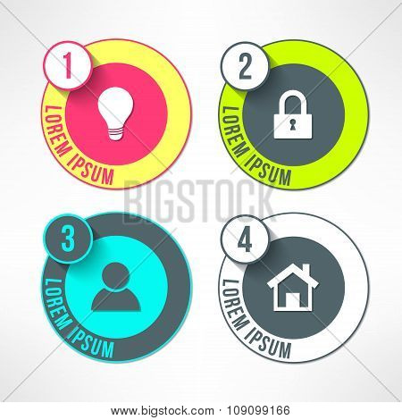 Vector bright infographic circles set in modern flat design suitable for business presentations and