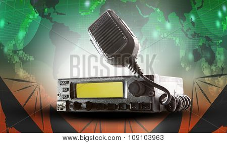 Cb Radio Transceiver Station And Loud Speaker Holding On Air Use For Ham Connection And Amateur Radi