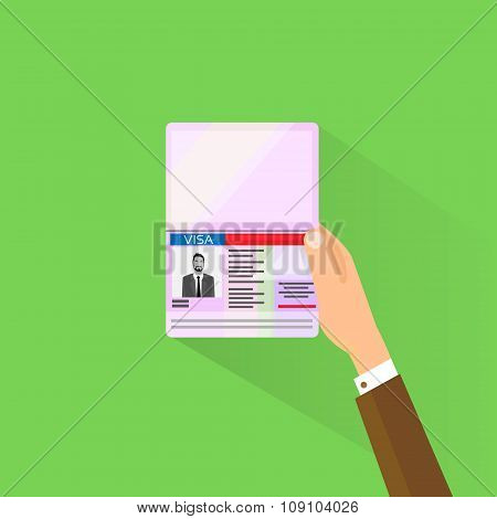 Visa Stamp Passport Flat Icon Businessman Hand Hold Travel Approved