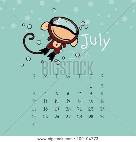 Calendar for the year 2016 - July