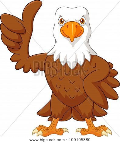 Cartoon eagle giving thumb up isolated on white background