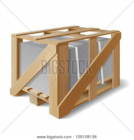 Wooden crate with cargo on a pallet.