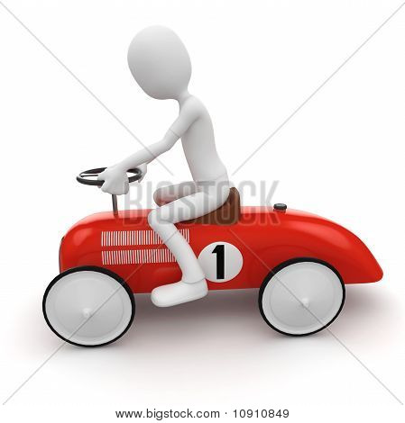 3D Man With Toy Car
