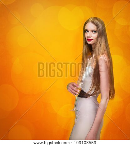 Celebrating Woman Holding Glass Of Champagne