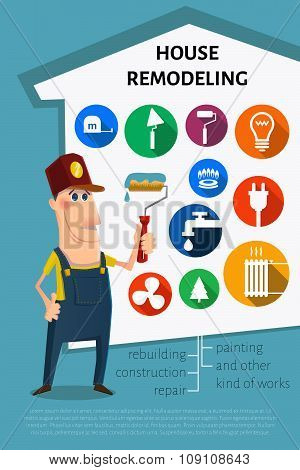 Nice cartoon painter character. and set of icons. House remodel theme. poster