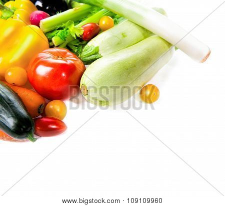 Fresh Vegetables Isolated On White Background. With Place For A Text