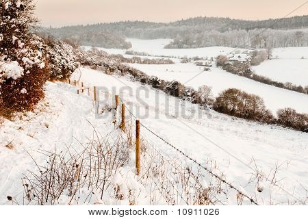 Snow Covered Fields At Dusk