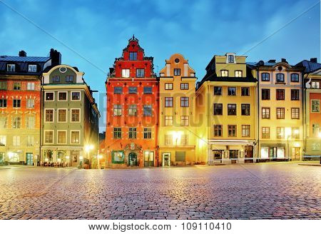 Old Houses On Stortorget Square At Night. Stockholm, Sweden