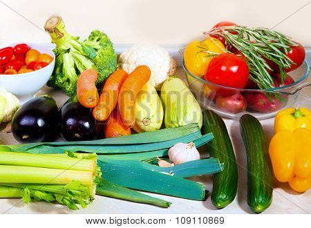 Fresh Vegetables On The Kitchen Table