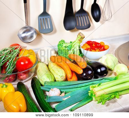 Fresh Vegetables On The Kitchen