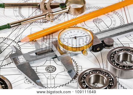 Technical drawing and tools poster