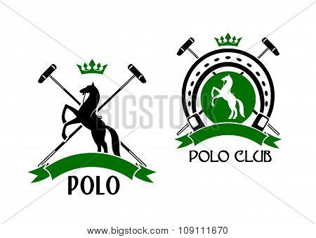 Polo club emblem with horse and sport items