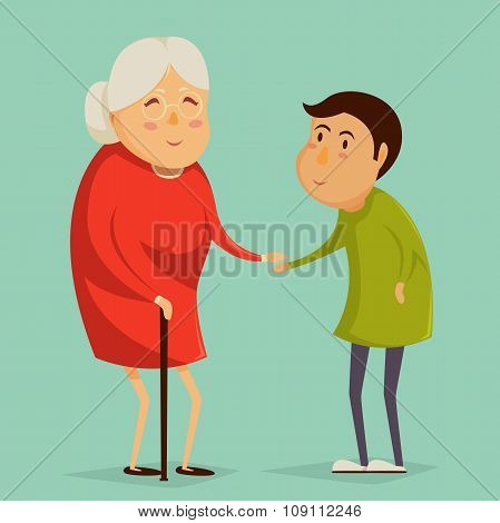 Grandmother and child holding hands. Happy grandparents day poster. Vector illustration in cartoon s