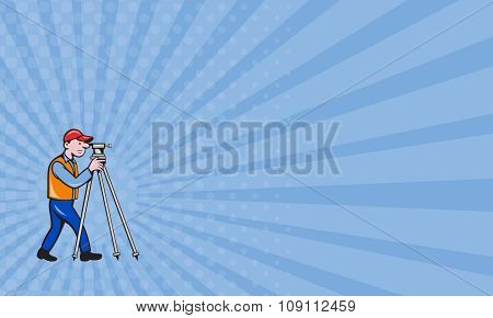 Business Card Surveyor Geodetic Engineer Theodolite Isolated Cartoon
