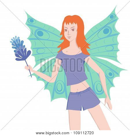 Young Butterfly Lady With Duster
