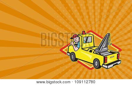Business Card Tow Wrecker Truck Driver Thumbs Up