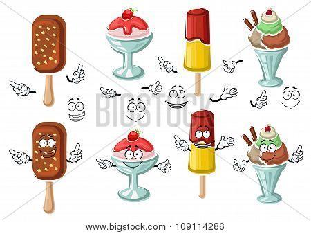 Cartoon tasty colorful ice cream characters