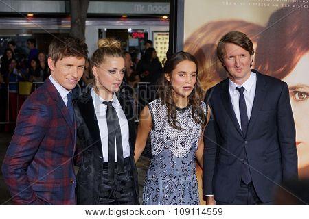LOS ANGELES - NOV 21:  Eddie Redmayne, Amber Heard, Alicia Vikander, Tom Hooper at the