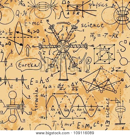 Physical formulas, graphics and scientific calculations. Back to School: science lab objects doodle