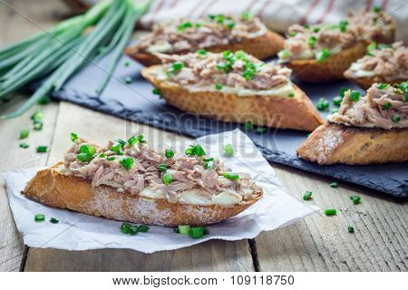 Sandwich With Tuna, Soft Cheese And Green Onion