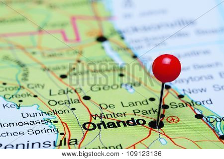 Orlando pinned on a map of USA